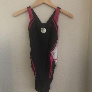 NWT Speedo Racer Pink Black One Piece Swim Suit 10